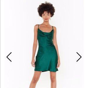 New Abercrombie & Fitch green silky strappy Dress